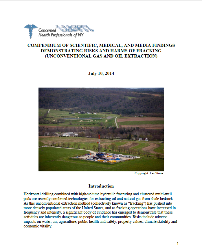 Systematically Organized Evidence of Fracking Risks.